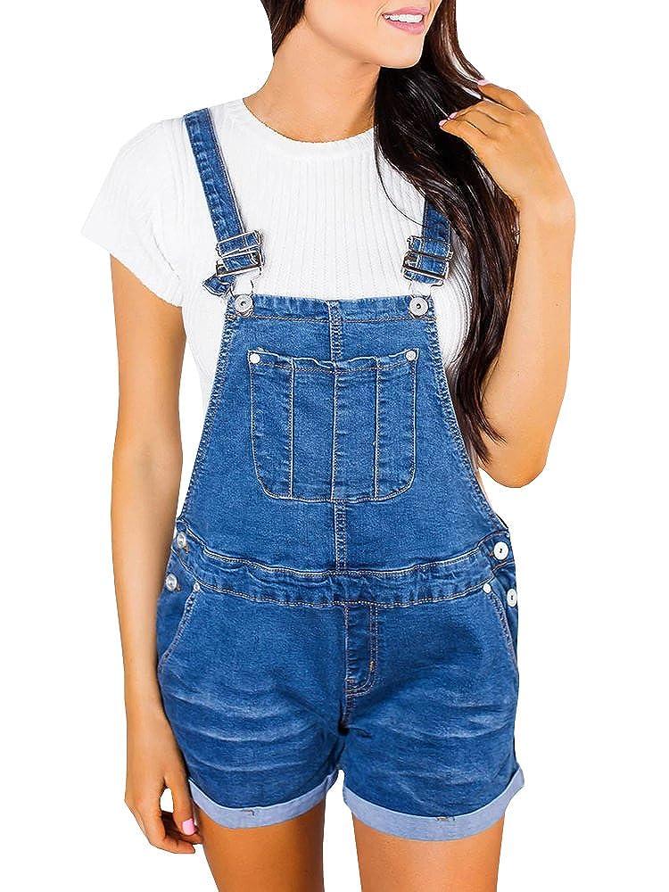 Lueyifs Damen Latzhose Denim Overall Distressed Jeans Kurz Jumpsuit Ripped Playsuit