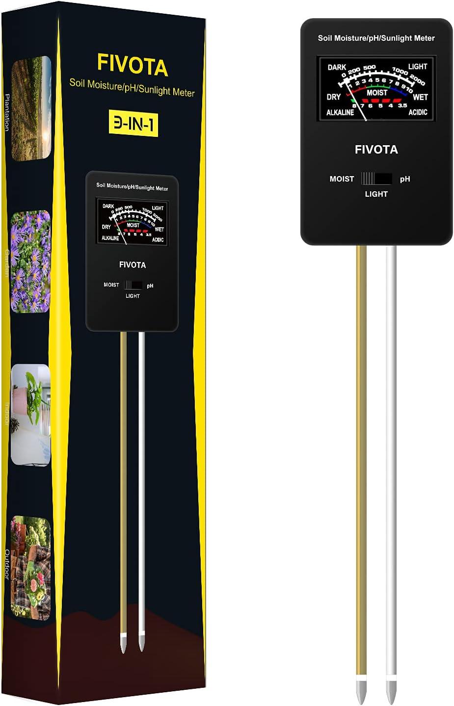 Fivota Soil pH Meter, FV03 Upgraded Large Screen Soil Moisture/Sunlight/pH Tester Backyard Soil Test kit, Reliable Gardening Soil Tool for Garden, Farm, Lawn Indoor & Outdoor Use