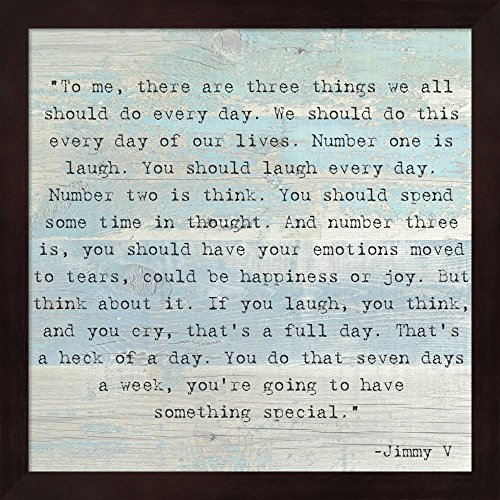 Three Things, Jimmy V Quote Fine Art Print with Wood Box Frame and Glass Cover, 13 x 13 inches