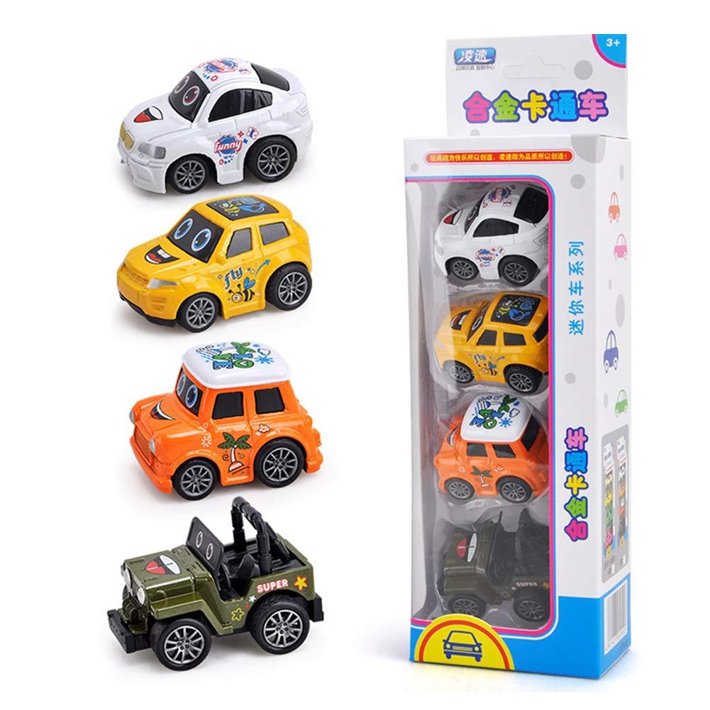 Studyset Kids Cartoon Shape Pull Back Alloy Cars Toys Set [four in one] B