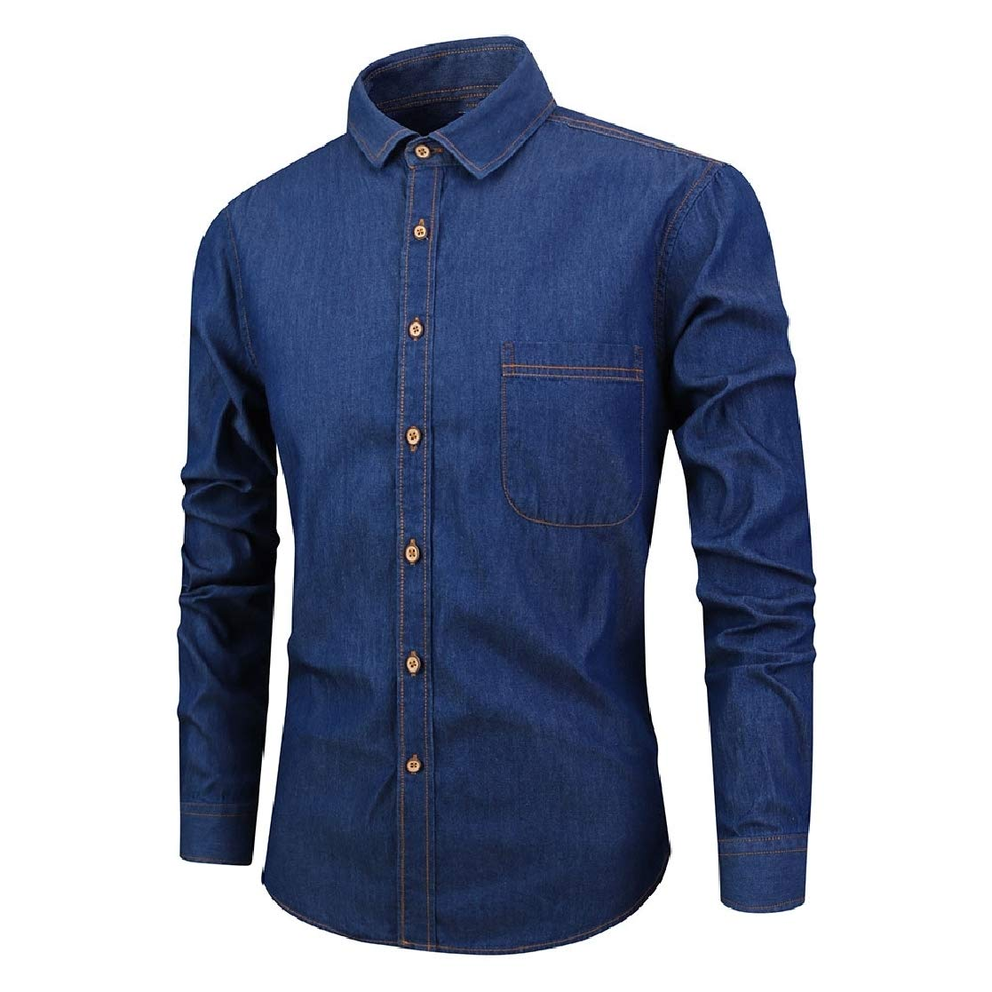 YUNY Mens Fitted Cardigan Square Collor Long Sleeve Pure Color Denim Shirt Dark Blue 2XL