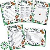 Woodland Baby Shower Games. 5x50 Party Supply Cards Include Wishes & Advice, Bingo, Word Search, Predictions. Gender Neutral Cards for boy Or Girl | Alpine Celebrations
