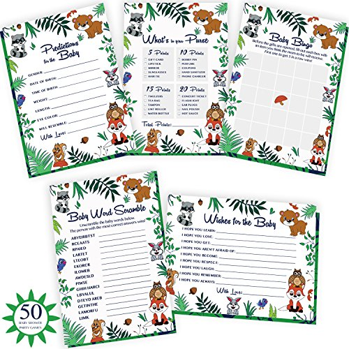 Woodland Baby Shower Games. 5x50 Party Supply Cards Include Wishes & Advice, Bingo, Word Search, Predictions. Gender Neutral Cards for boy Or Girl | Alpine Celebrations by Alpine Celebrations