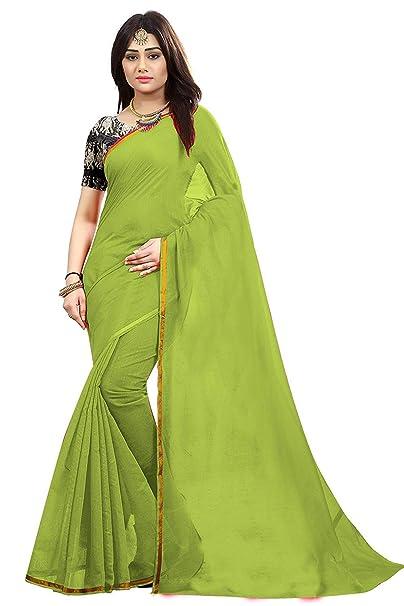 e8c9736080b49b Aabha N Alia Women s Plain Chanderi Cotton Silk Saree with Kalamkari Blouse  (07102018X14