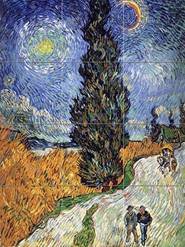 - Road with Cypress and Star by Vincent van Gogh Tile Mural Kitchen Bathroom Wall Backsplash Behind Stove Range Sink Splashback 3x4 8