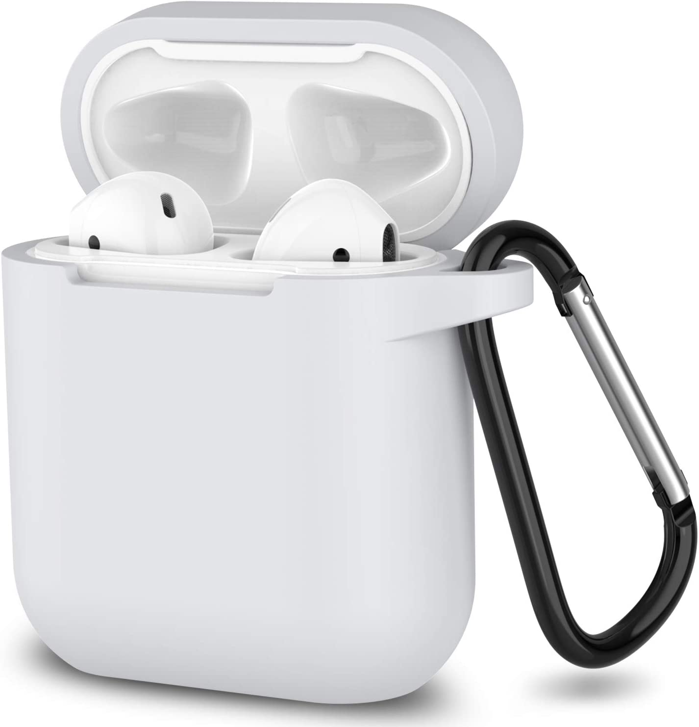 AirPods Case,SATLITOG Protective Silicone Cover Compatible with Apple AirPods 2 and 1(Not for Wireless Charging Case)(White)