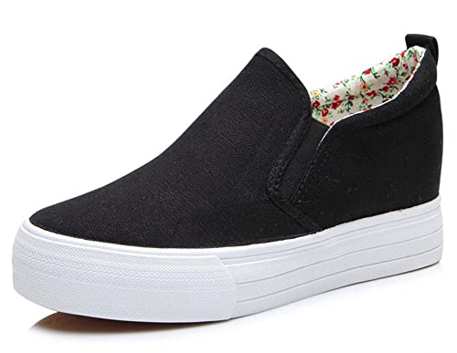 592837d5fe3 SATUKI Adult Women s Pull On Hidden Heel Wedge Casual Canvas Shoes Fashion  Sneakers (8