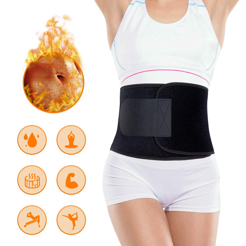 Portzon Waist Trimmer for Men Women, Neoprene Stomach Wrap, Exercise Fitness Waist Belt Adjustable Slimmer Body Shaper