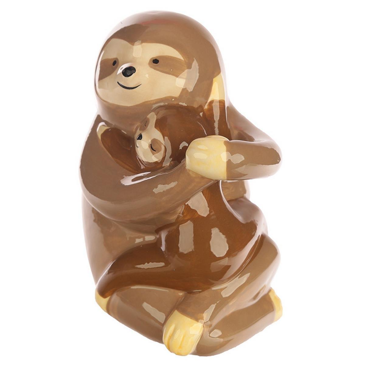 Puckator Ceramic Sloth and Baby Money Box