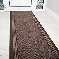 Brown Rubber Backed Very Long Hallway Hall Runner Narrow Rugs Custom Length - Sold and Priced Per Foot
