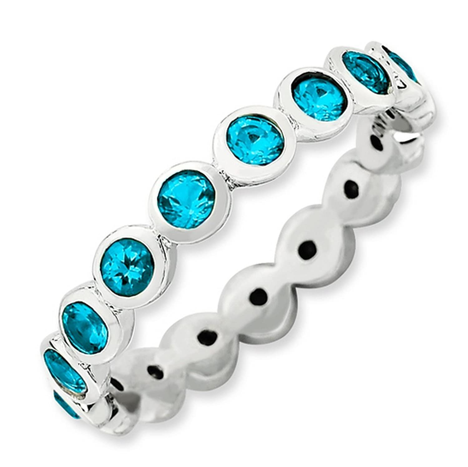 IceCarats Designer Jewelry Sterling Silver Stackable Expressions December Swarovski Ring