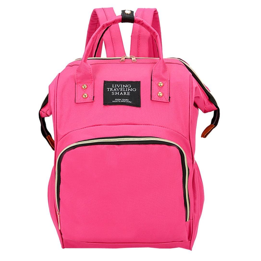 Diaper Bag Backpack Women Large Capacity School Bags Laptop Travel Nappy Bags (Hot Pink)