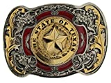 The State of Texas Belt Buckle WITH GOLD PLATE DETAILING including Presentation Box. (G/R)