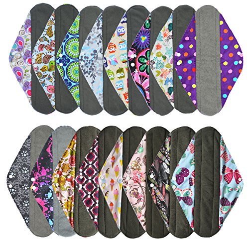4 Pieces 14 Inch Overnight Charcoal Bamboo Reusable Mama Cloth/ Menstrual Pads - You Choose 4 From 17 Designs and Send Message to Me (14 Inch Piece)