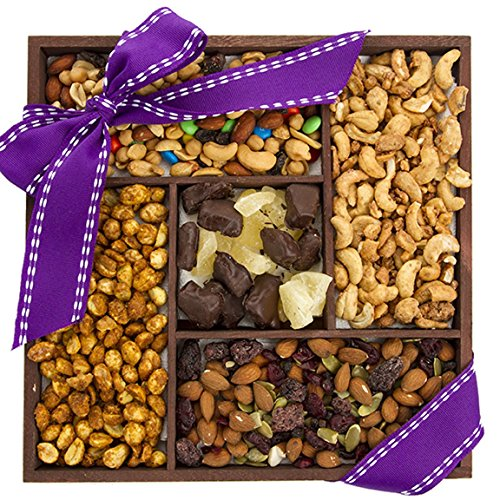 Five-Part Fruit, Nut, Trail Mix Sampler, Fruit and Nuts Gift - Perfect Gift for Administrative Professionals Day - Sugar Plum Chocolates