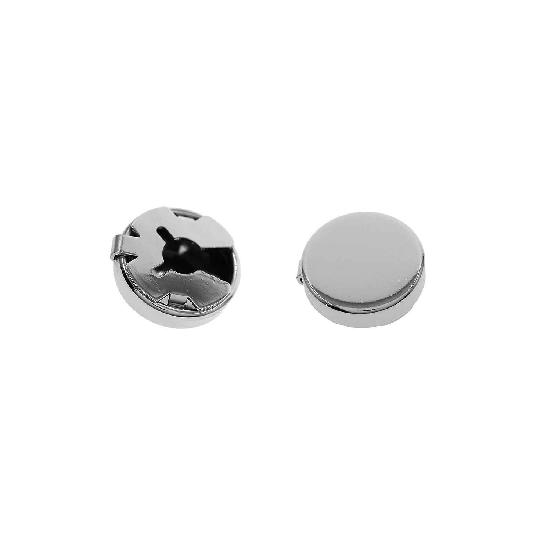 15MM Silver, Gun Black Round Cuff Button Cover Cuff Links for Wedding Formal Shirt 1Pair/2Pcs Shine Idea