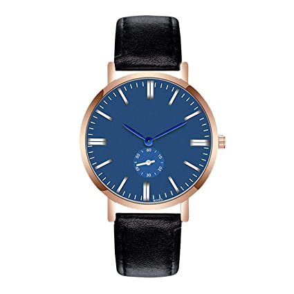 freedomer Blue Dial Watch Men Luxury Leather Quartz Wrist Watch Sport Watch Relojes para Hombre Mens