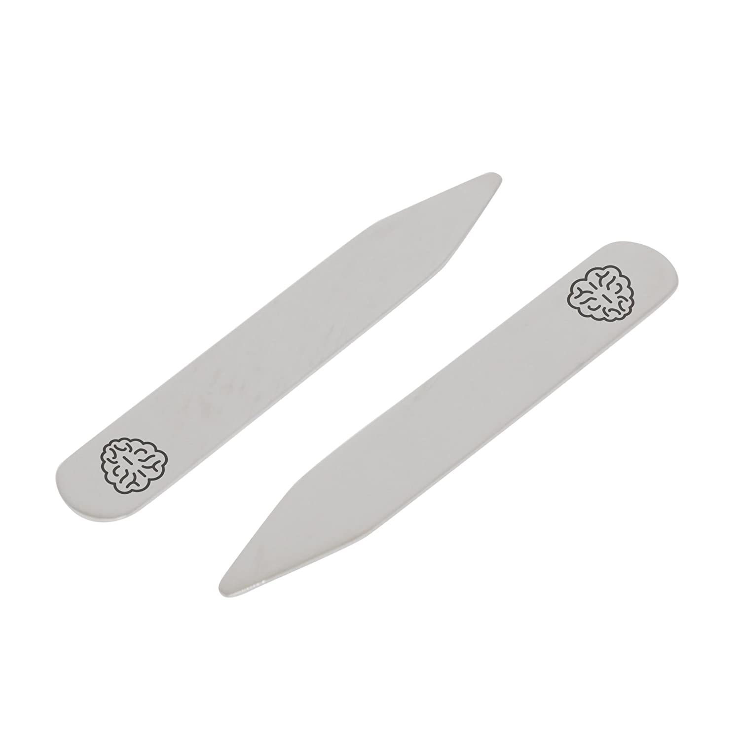 Made In USA 2.5 Inch Metal Collar Stiffeners MODERN GOODS SHOP Stainless Steel Collar Stays With Laser Engraved Brain Pattern Design