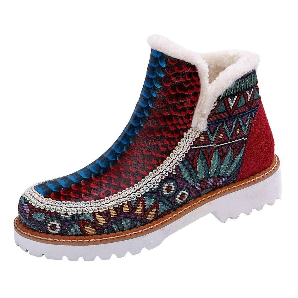 Onefa Women Winter Snow Boots Warm Round Toe Ankle Boots Anti-Slip Flats Winter Shoes Slip On Booties by Onefa