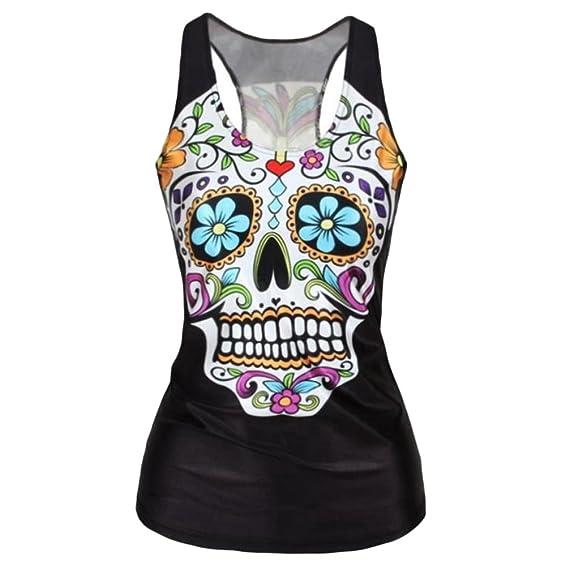 Kairuun Mujeres Camisetas sin Mangas Skull Prints Casual O-Cuello Chaleco Punk Vest Negro: Amazon.es: Ropa y accesorios