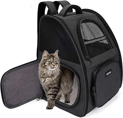 FREESOO Transportin Gato Mochilas para Gatos y Perro Bolsa para Mascotas Transporte Plegable Portador de Viaje Transpirable Carga Máxima 6.5 kg para Vajar en Tren/Automóvil/Restaurante/Avión: Amazon.es: Productos para mascotas