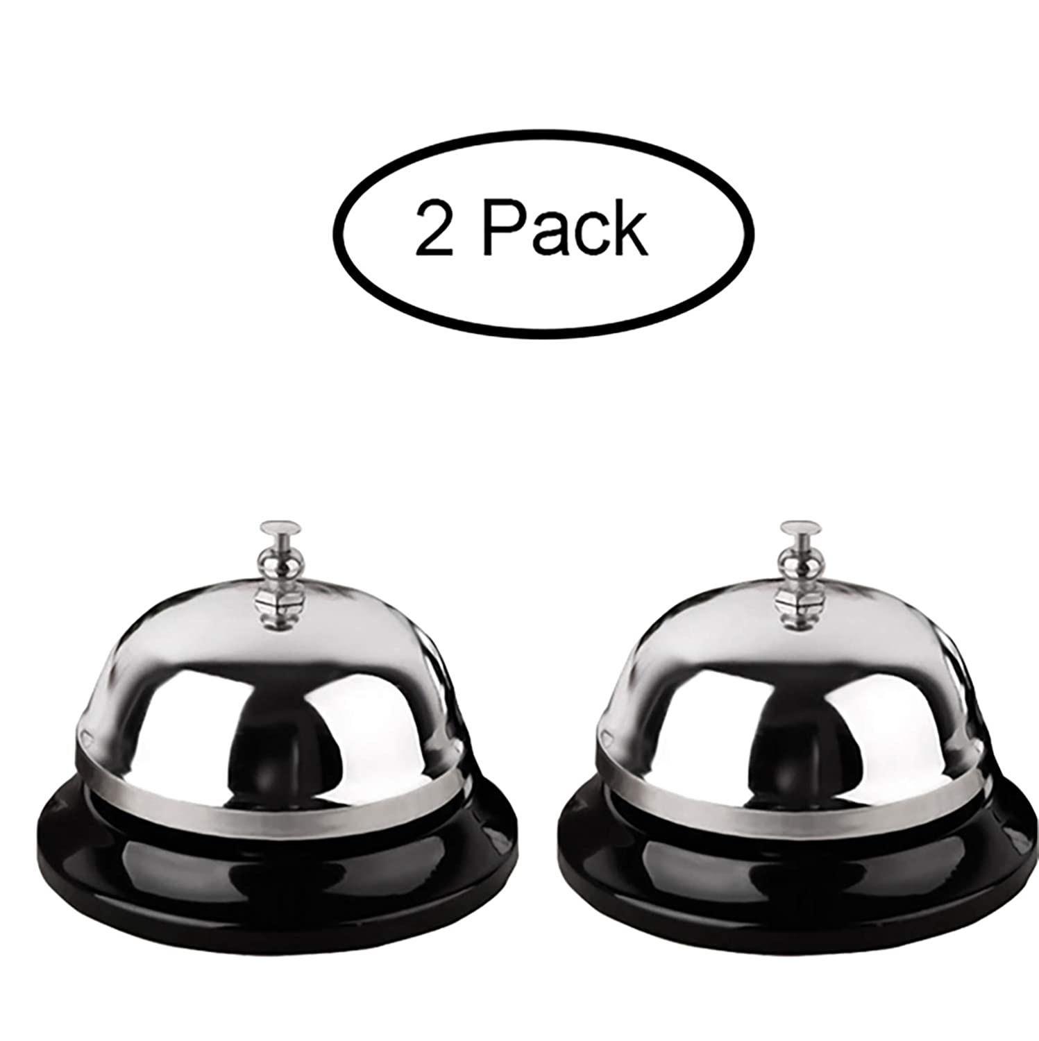 Call Bell 2 Packs 3.35 Inch Diameter with Metal Anti-Rust Construction, Ringing, Durable, Desk Bell Service Bell for Hotels, Schools, Restaurants, Reception Areas, Hospitals, Warehouses(Silver)
