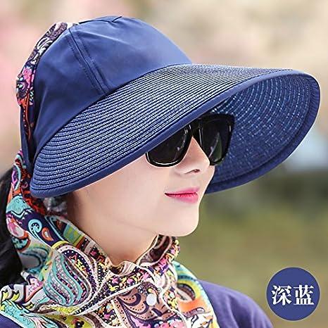 LLZTYM Mujer/Verano/Sombrilla/De Exterior/Bloqueador Solar/Gorro De Playa/UV/Gorra De Sol/Bici/Jinete/Plegable/Gorro/De Regalo/Sombrero, (56-60Cm), C Azul: Amazon.es: Deportes y aire libre