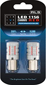 SIRIUSLED RLS 1156 Red Color Built in Resistor Anti Hyper flashing LED Bulb Rear Turn Signal Light Full Aluminum Body Single Filament Error Free Pack of 2