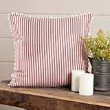 Farmhouse Ticking Stripe Red Pillow Cover, 18'' x 18'', Home Décor Accent Pillow Case w/Rick Rack