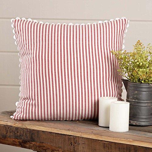 Piper Classics Farmhouse Ticking Stripe Red Pillow Cover, 18