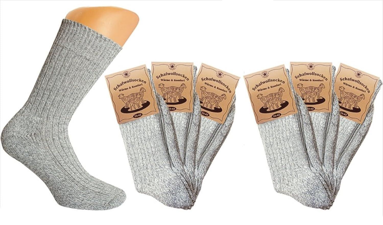 3er Pack oder 6er Pack graue Norweger-Socken für Herren oder Damen dicke warme Strickware Thermo-Socken Plüsch-Socken Grösse 35/38, 39/42 oder 43/46
