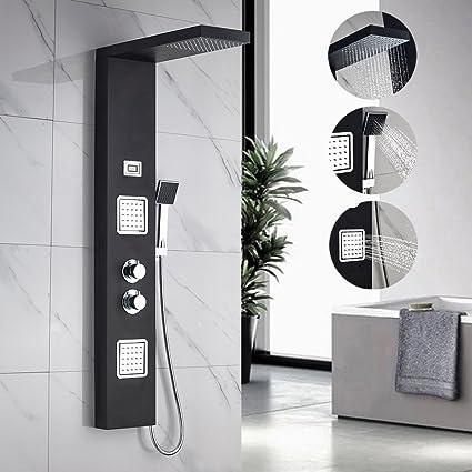 Auralum Columna ducha de hidromasaje de Acero Inoxidable con Termostato para Bañera y Ducha, Color Negro