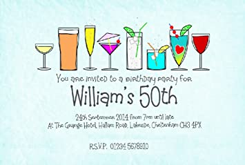 50 Personalised Magnetic Invitations Adult Invites For 18th 21st 30th 40th 50th 60th 70th Party