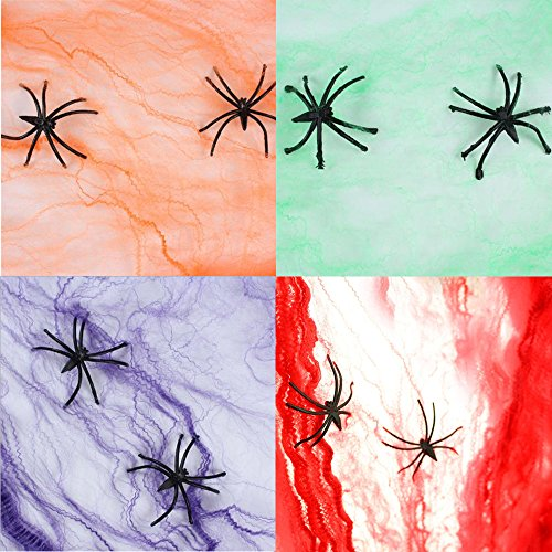 4 Packs Stretchable cotton Spider Cob Webs Haunted House Halloween Decoration with Plastic Spiders by (Halloween Unusual Effects)