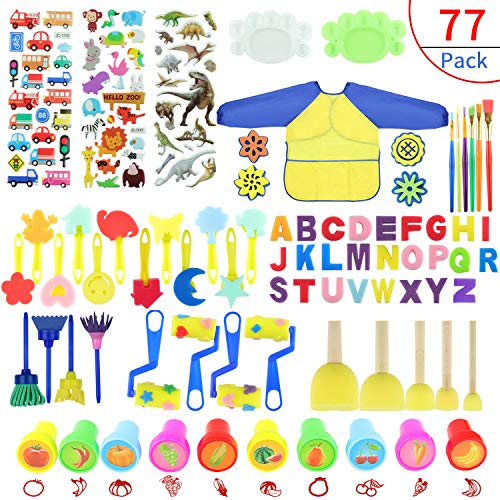 Painting Kits for Kids,Early Learning Kids Paint Set,Paint Sponges for Kids,77PCS Mini Flower Sponge Paint Brushes and Toys. Assorted Painting Drawing Tools in a Clear Durable Storage Pouch (77PCS)