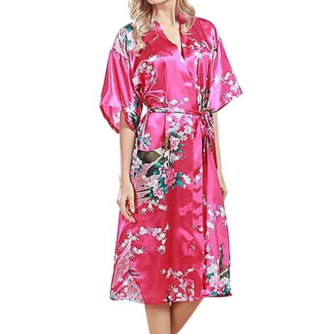 Xinvision Mujer más el tamaño Ropa de dormir Seda Kimono Robes Pavo real Impresión Manga corta Camisón Satín Nightgown Estilo largo Bata de baño Dressing ...