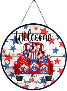 Independence Day Welcome Wooden Sign Round,American Flag Gnomes Decor,Wooden Plaque Sign Ornaments & Door Hangers for Farmhouses, Front Doors, Back Doors, Room Doors, Fourth of July Decor