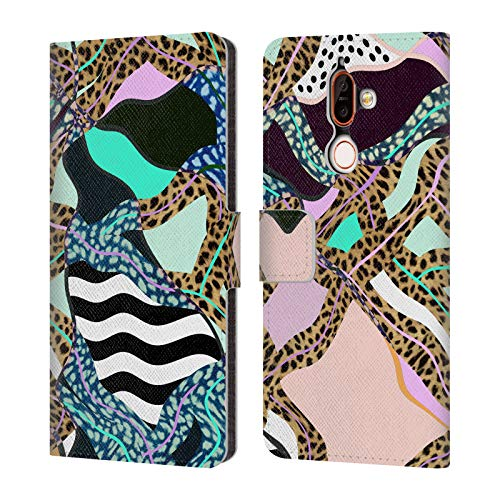 Official Vasare NAR Stripe Zebra Post Modern Contemporary New Wave Leather Book Wallet Case Cover for Nokia 7 Plus