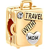 JewelryHouse Travel with Mom Luggage Suitcase Bead Charms fit Charms Bracelets