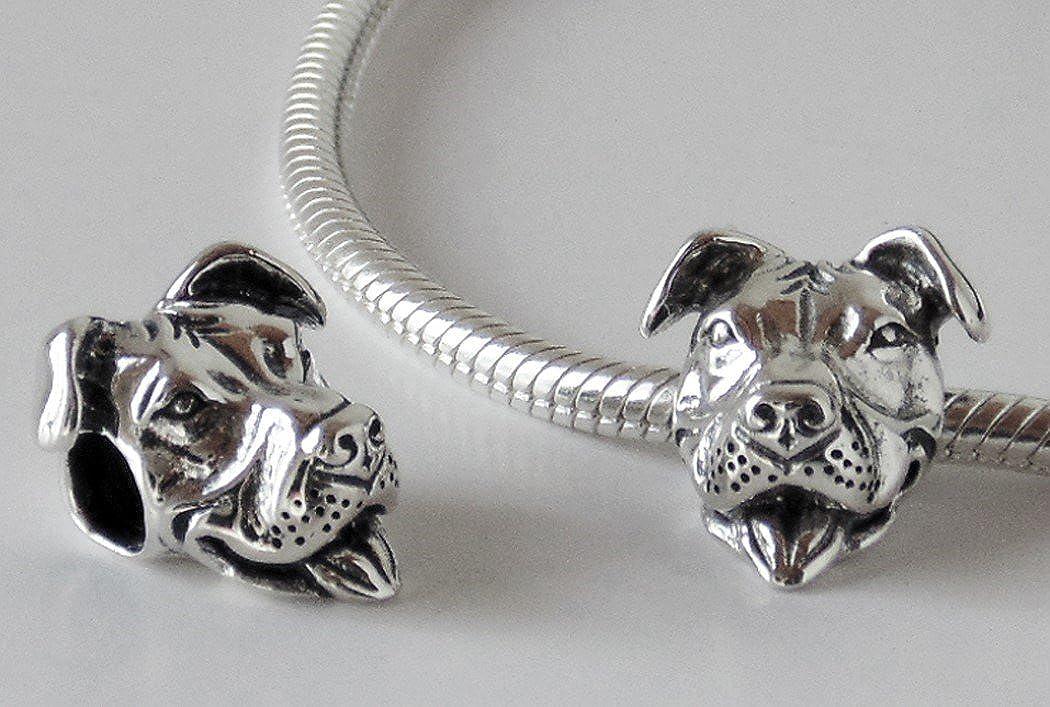 Sterling Silver Smiling Pit Bull Charm for European Style Snake Bracelets