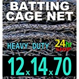 12 x 14 x 70 Baseball Batting Cage - #42 Heavy Duty Net [Net World] 24hr Ship