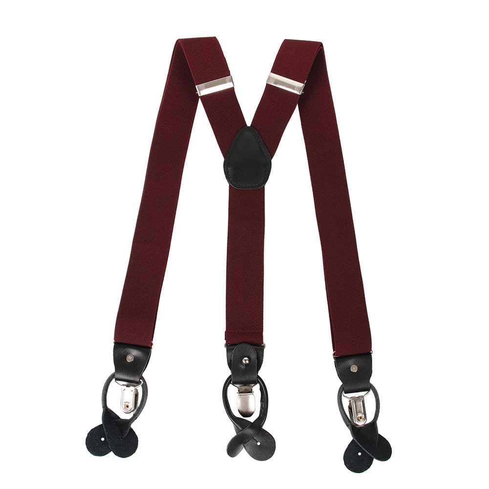 Men's Y Back Suspenders with Strong Clips&Leather Joint& Button End Strap& Heavy Duty (Wine Red)