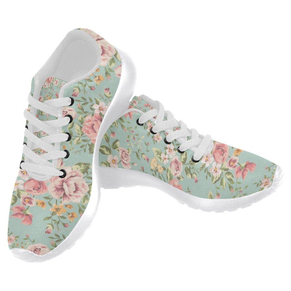 InterestPrint Women's Jogging Running Sneaker Lightweight Go Easy Walking Casual Comfort Running Shoes Size 8 Vintage Flower Pattern