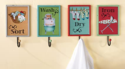 Set Of 4 Laundry Wall Hanging Towel Hooks Decorative Wash Room Hanging Rack  Plaque Metal Hook