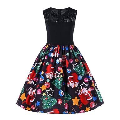 df3ebae72bc Christmas SFE Womens Plus Size Print Dress Santa Party Cocktail Swing  Dresses (Black-B