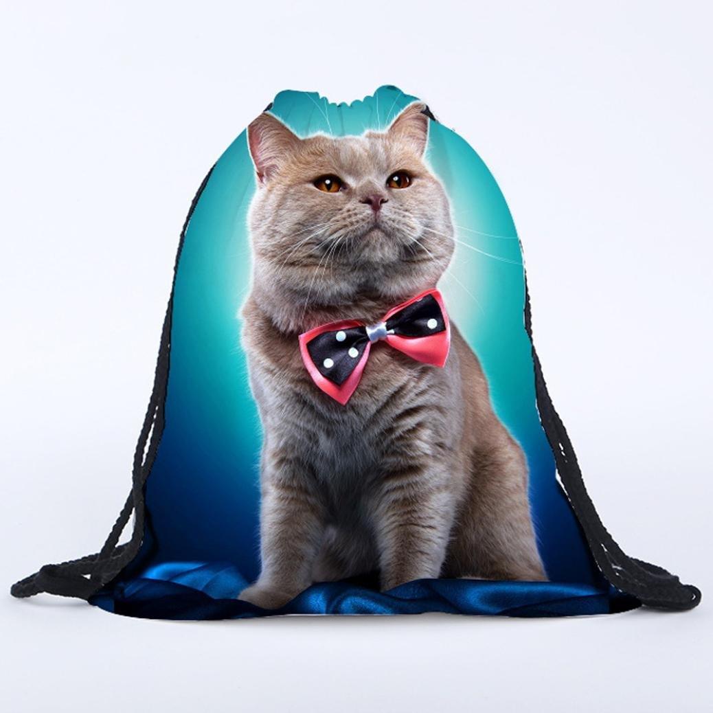 kingko/® Chat 3D Printing cabas voyage sac Gym sacs fourre-tout sac /à dos Sport de sac /à dos unisexe Drawstring faisceau Port