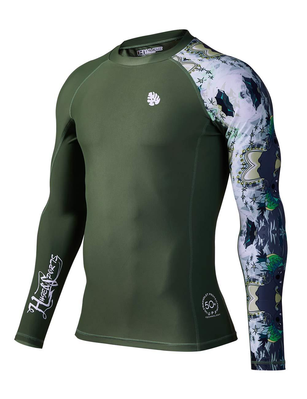 HUGE SPORTS Men's Splice UV Sun Protection UPF 50+ Skins Rash Guard Long Sleeves ... by HUGE SPORTS