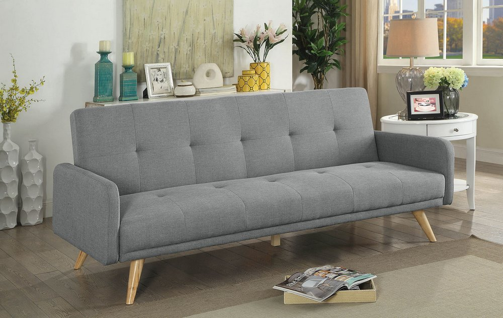 Amazon.com: Burgos Gray Linen-like Fabric Futon Sofa by ...