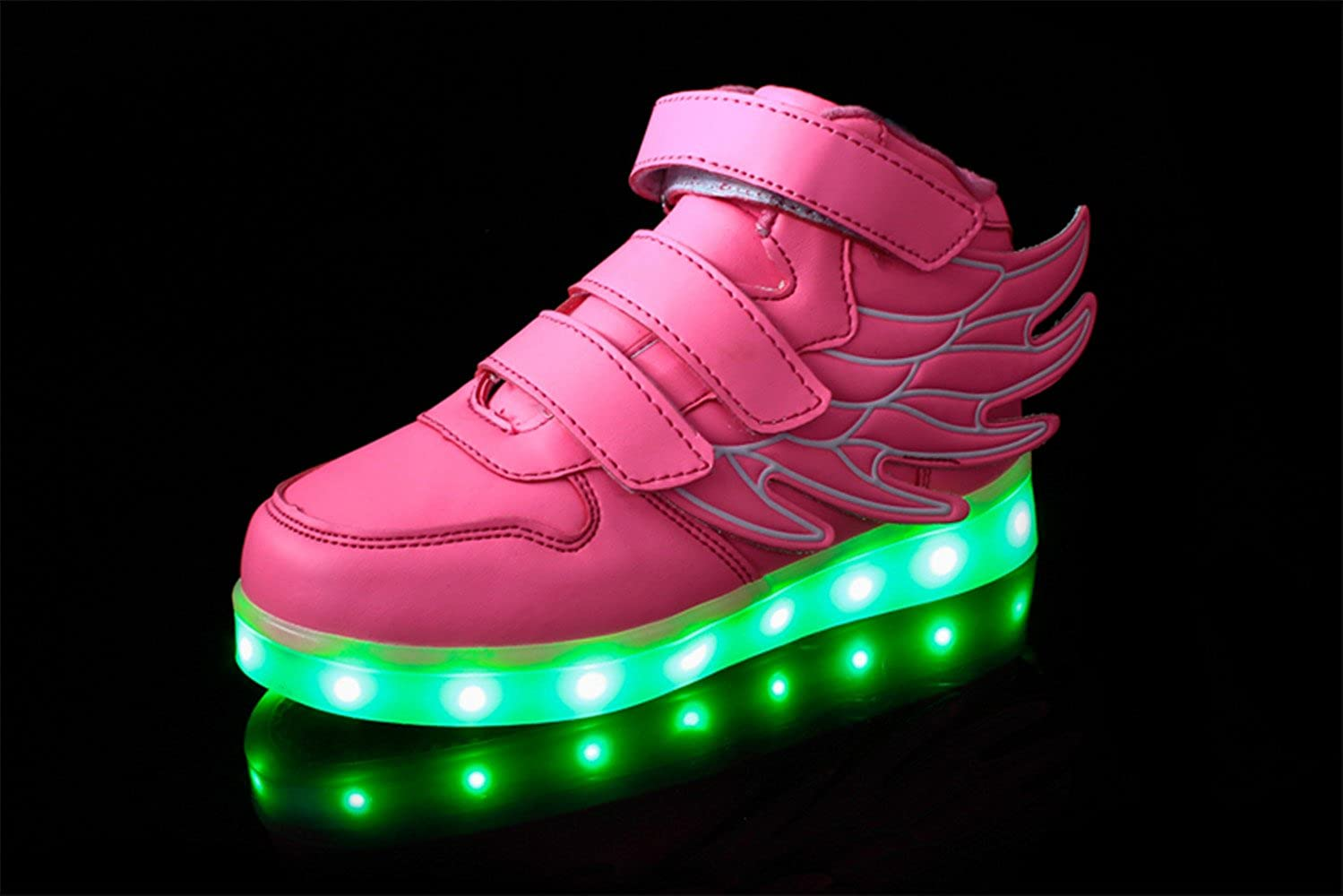 HarlanLi Have Wings Kids LED Light Up Shoes USB Charging Flashing Sneakers for Boys and Girls Unisex Pink