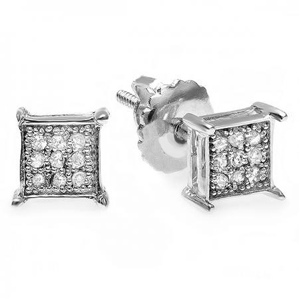 0.07 Carat (ctw) 14K White Gold Round Diamond Micro Pave Hip Hop Iced Square Shaped Stud Earrings
